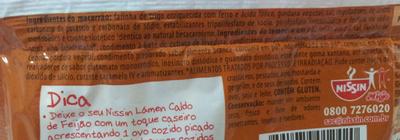 Nissin Lámen Sabor Caldo de Feijão - Ingredients