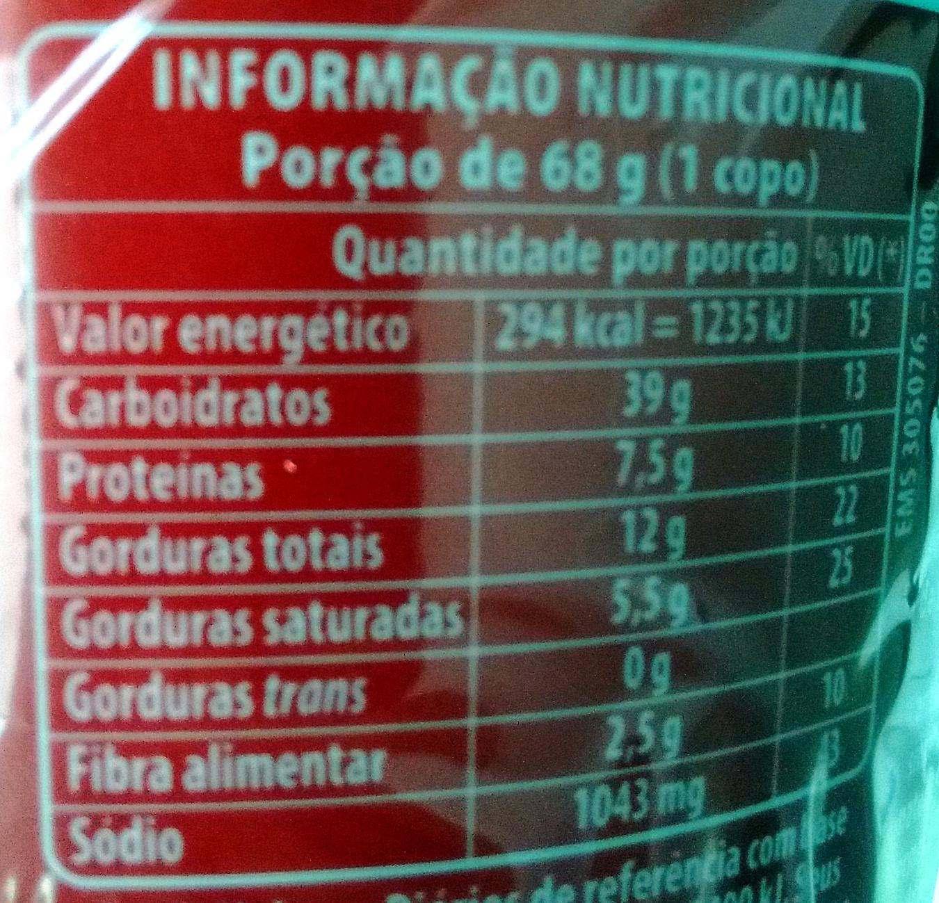 Cup Noodles Calabresa - Informação nutricional - pt