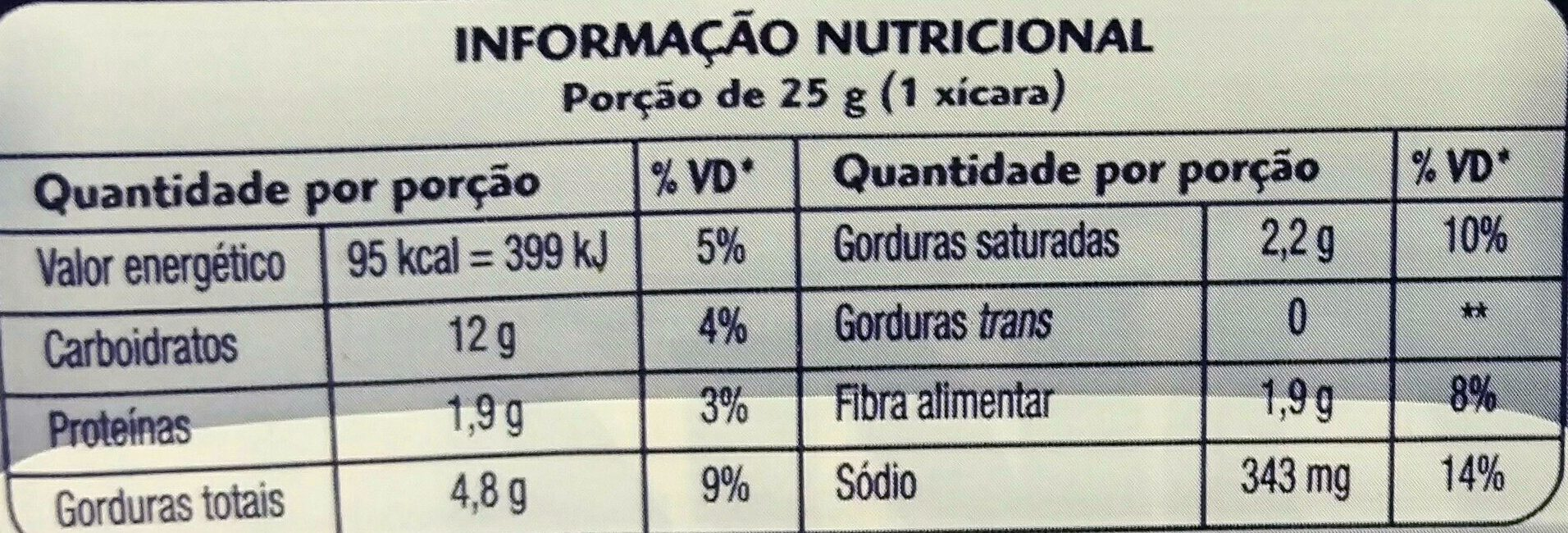 Yoki sabor manteiga de cinema - Nutrition facts