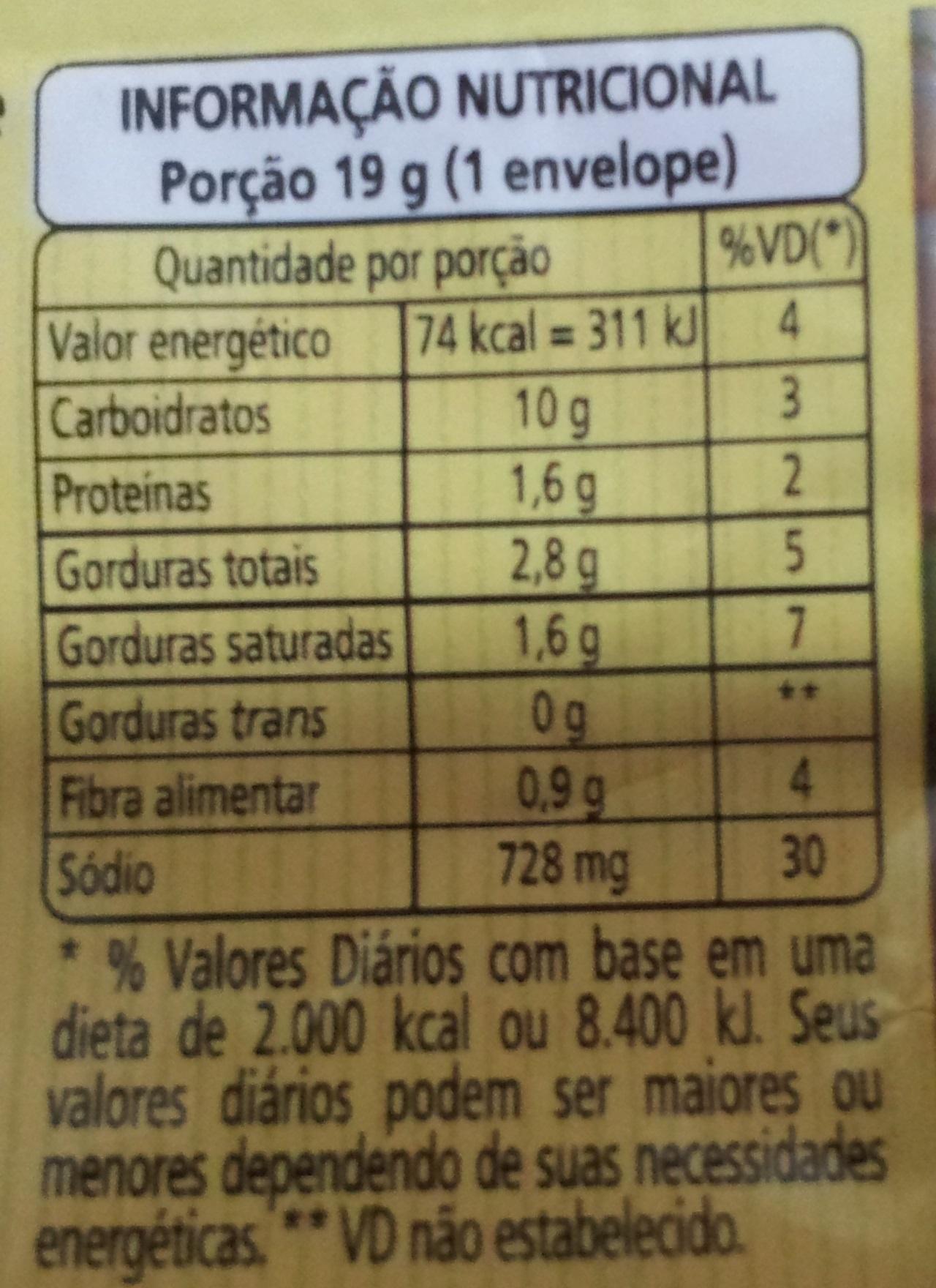 Vono Champignon - Informação nutricional - pt