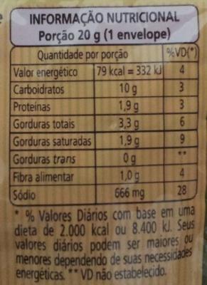 Vono Espinafre com Queijo - Informação nutricional - pt
