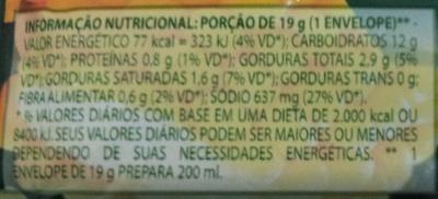 Quick Milho na Manteiga - Informação nutricional - pt
