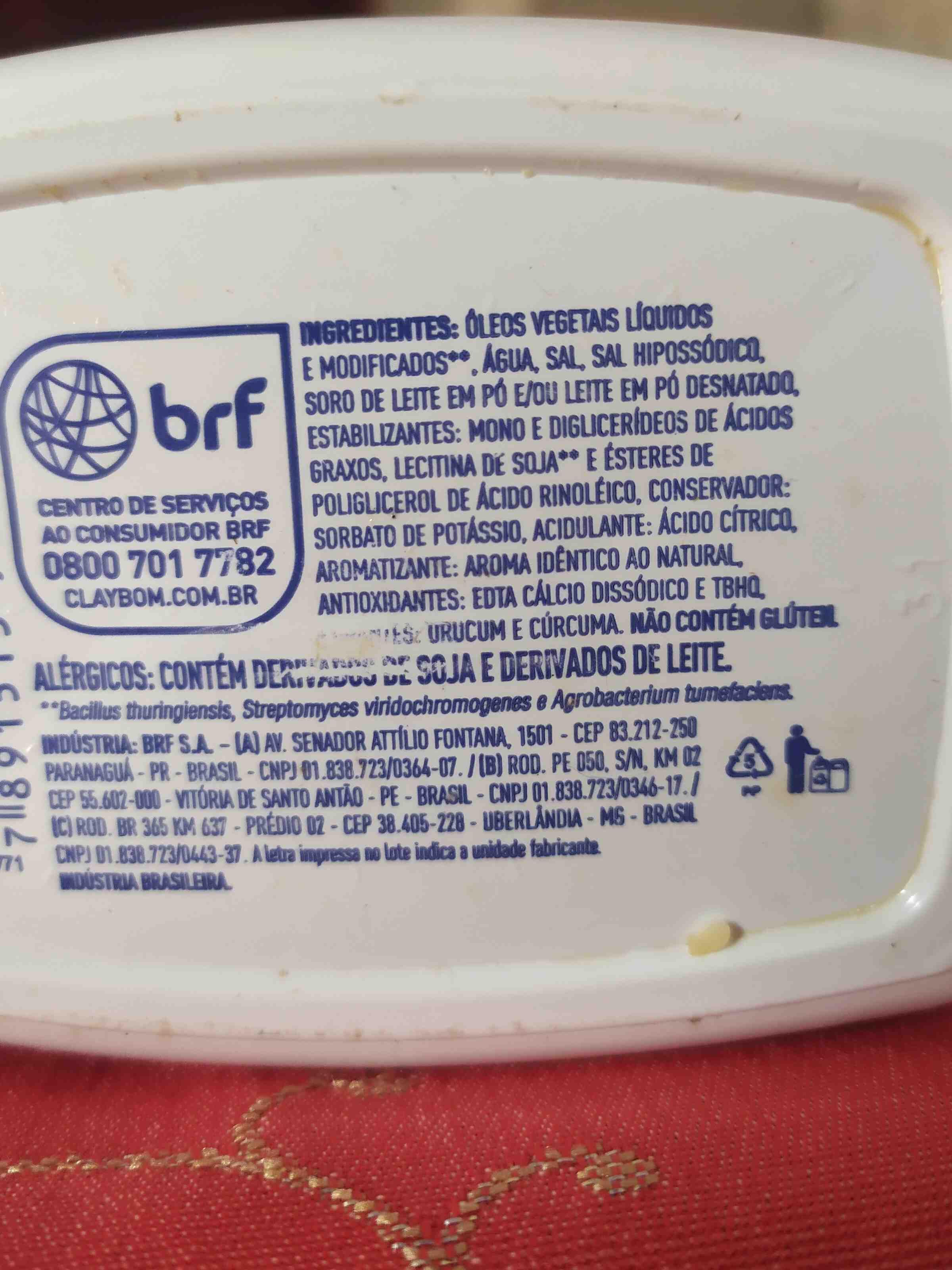 Margarina Claybom - Ingredientes - en