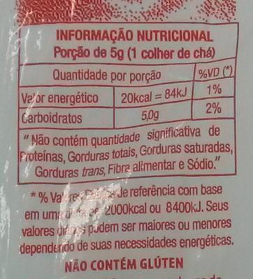 Açúcar refinado - Voedigswaarden