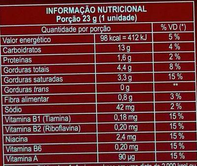 Biscoito sabor leite com cobertura sabor chocolate ao leite - Informations nutritionnelles