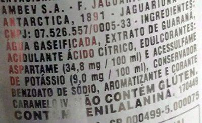 Antarctica Guarana Soda (diet)- Zero - Ingredients - pt
