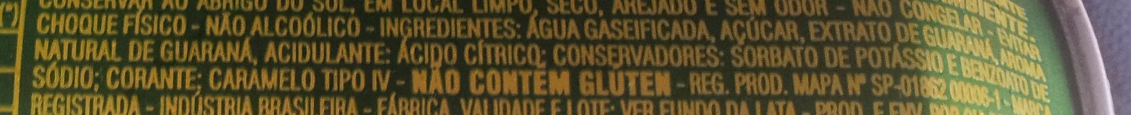 Guaraná Antartica - Ingredientes - pt