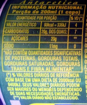 Guaraná Antartica - Informations nutritionnelles