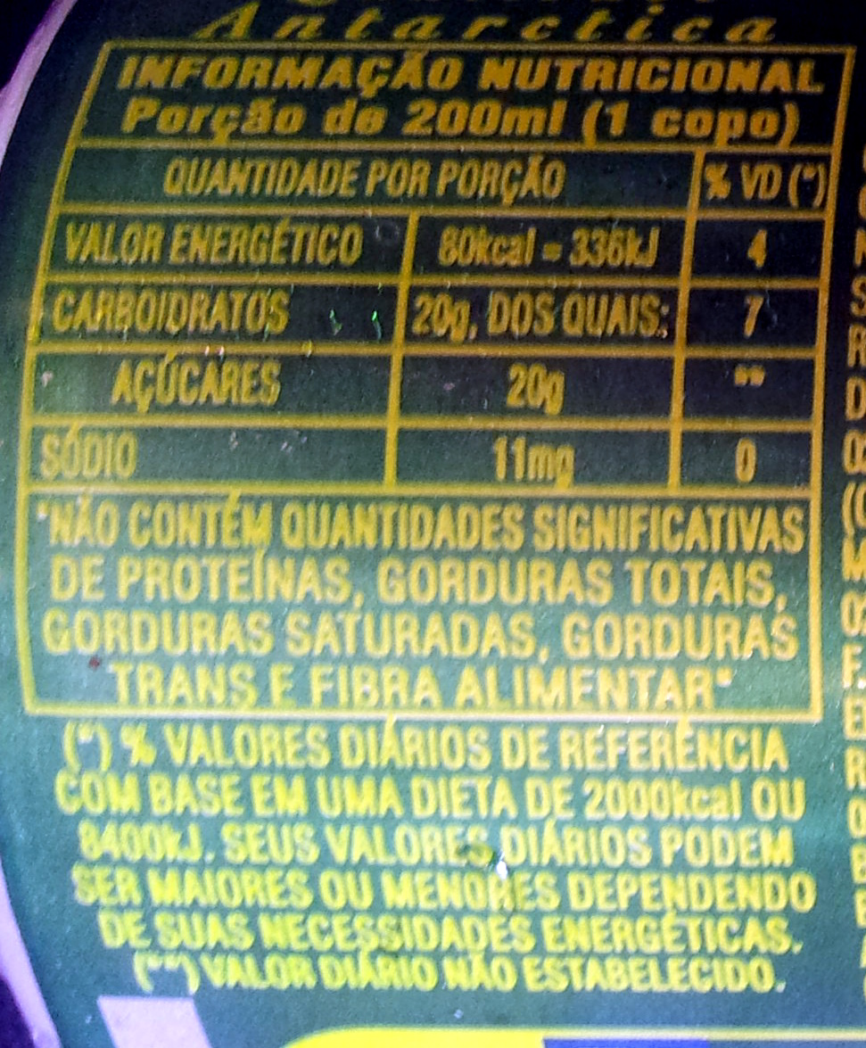 Guaraná Antartica - Información nutricional - pt