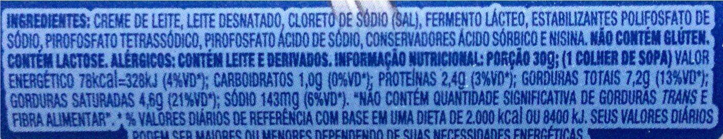 Requeijão Vigor 200G - Informação nutricional - pt