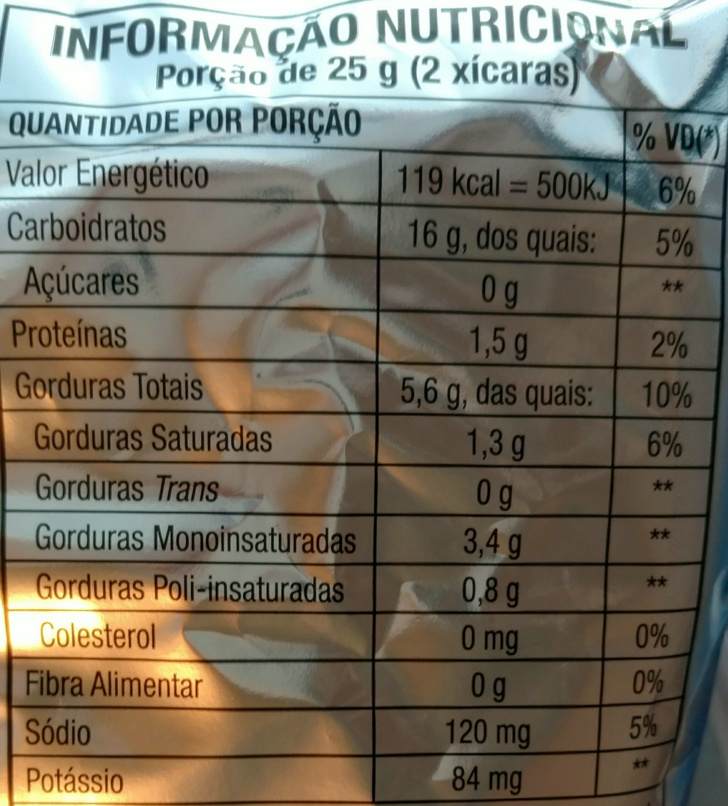 Cheetos onda sabor requeijão - Nutrition facts