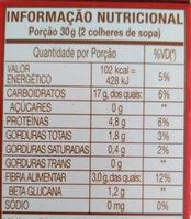 Aveia em flocos - Informação nutricional - pt