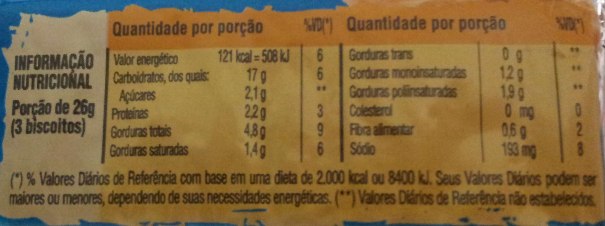 Clube Social Original - Nutrition facts - pt