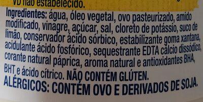 Maionese Hellmann's - Ingredients - pt
