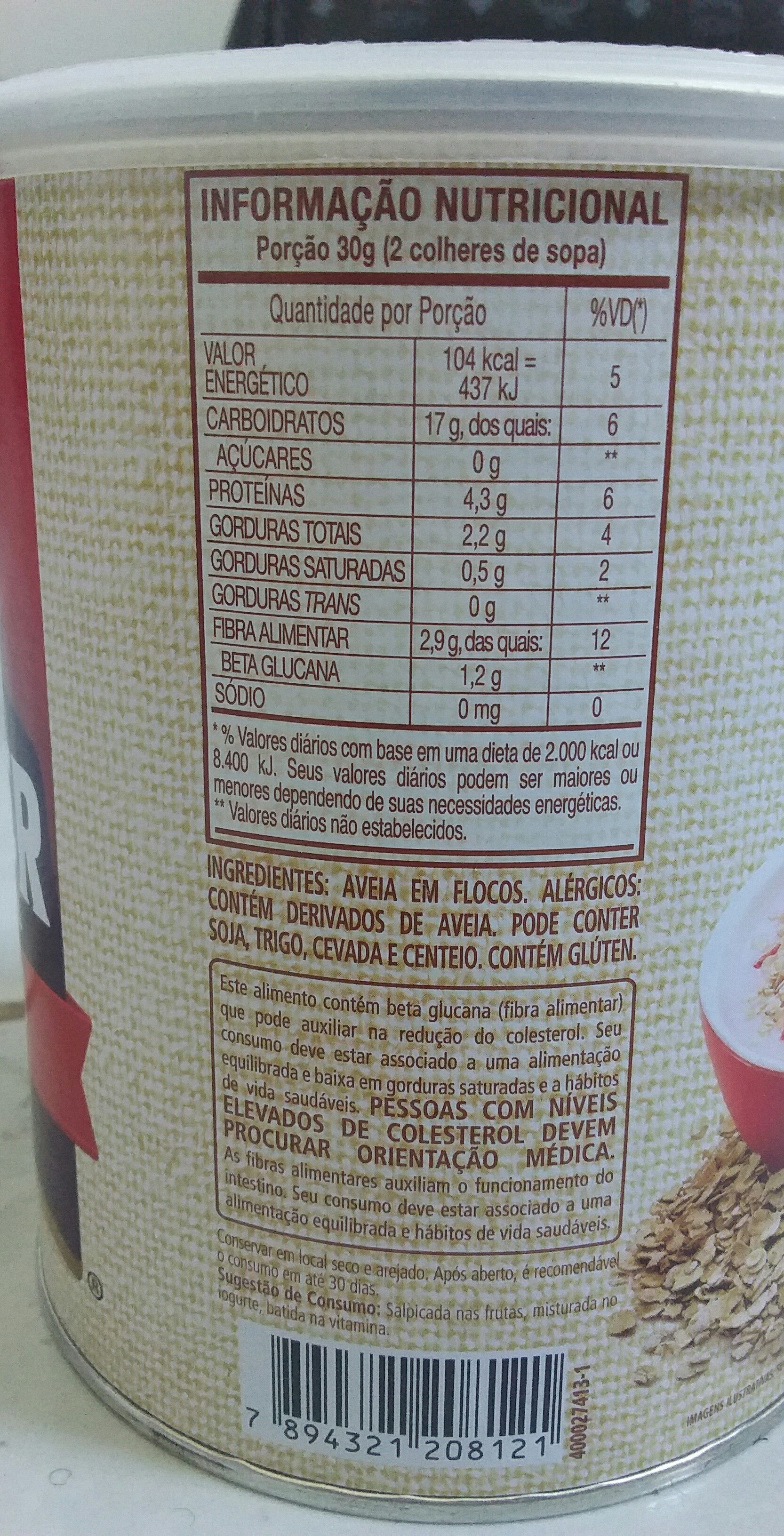 Quaker Aveia Integral Flocos - Ingredients - pt