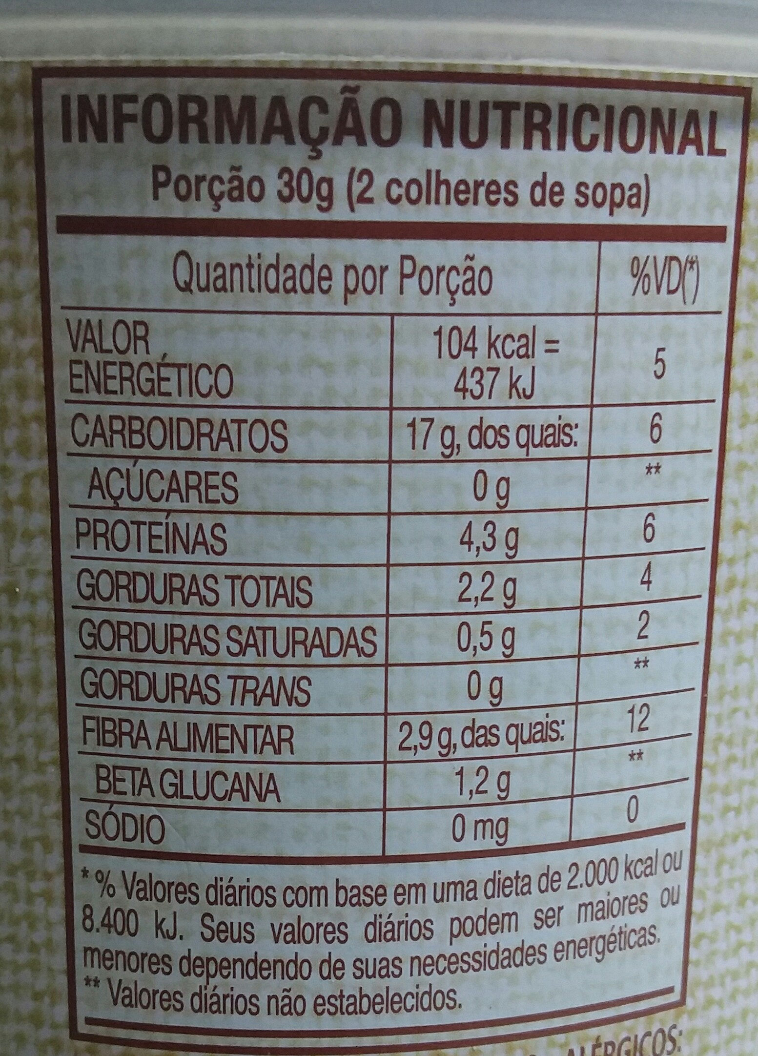 Quaker Aveia Integral Flocos - Nutrition facts - pt