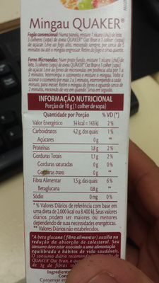 OAT BRAN - Nutrition facts - pt