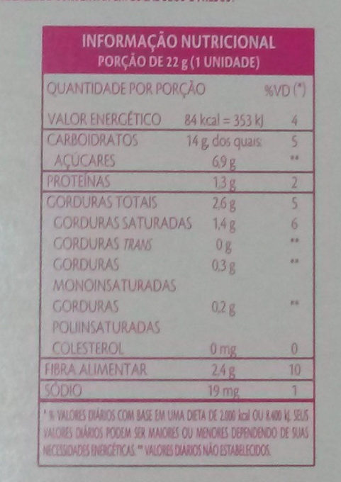 Barra de Cereais Morango com Chocolate - Nutrition facts
