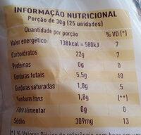 Biscoito de Polvilho Salgado - Informação nutricional - pt