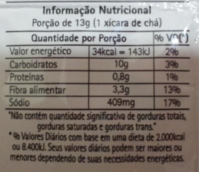 taeq Sopa Instantânea de Cebola - Informação nutricional - pt