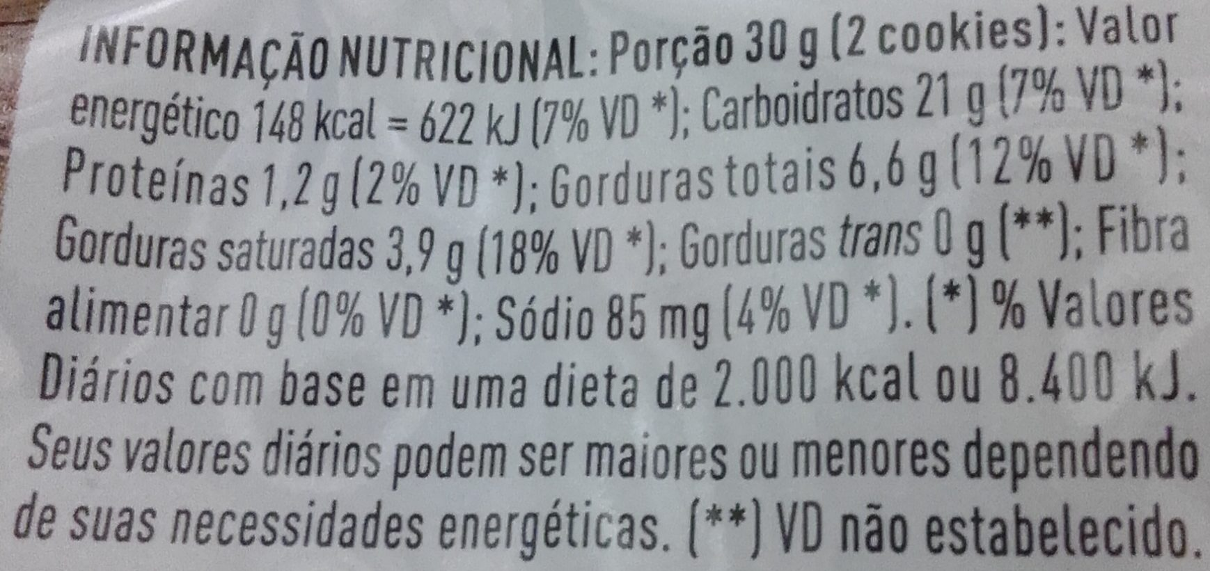 Cookies de Baunilha com Confeitos Qualitá - Nutrition facts