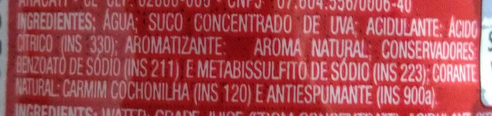 Suco de uva concentrado - Ingredientes - pt
