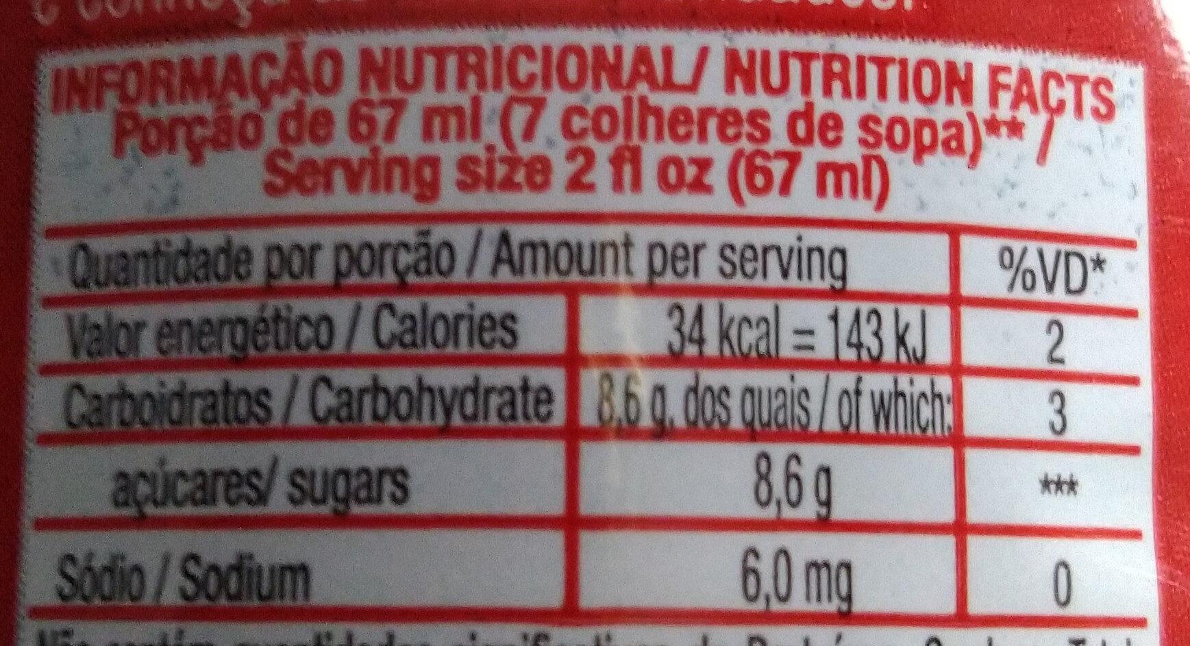 Suco de uva concentrado - Informação nutricional - pt