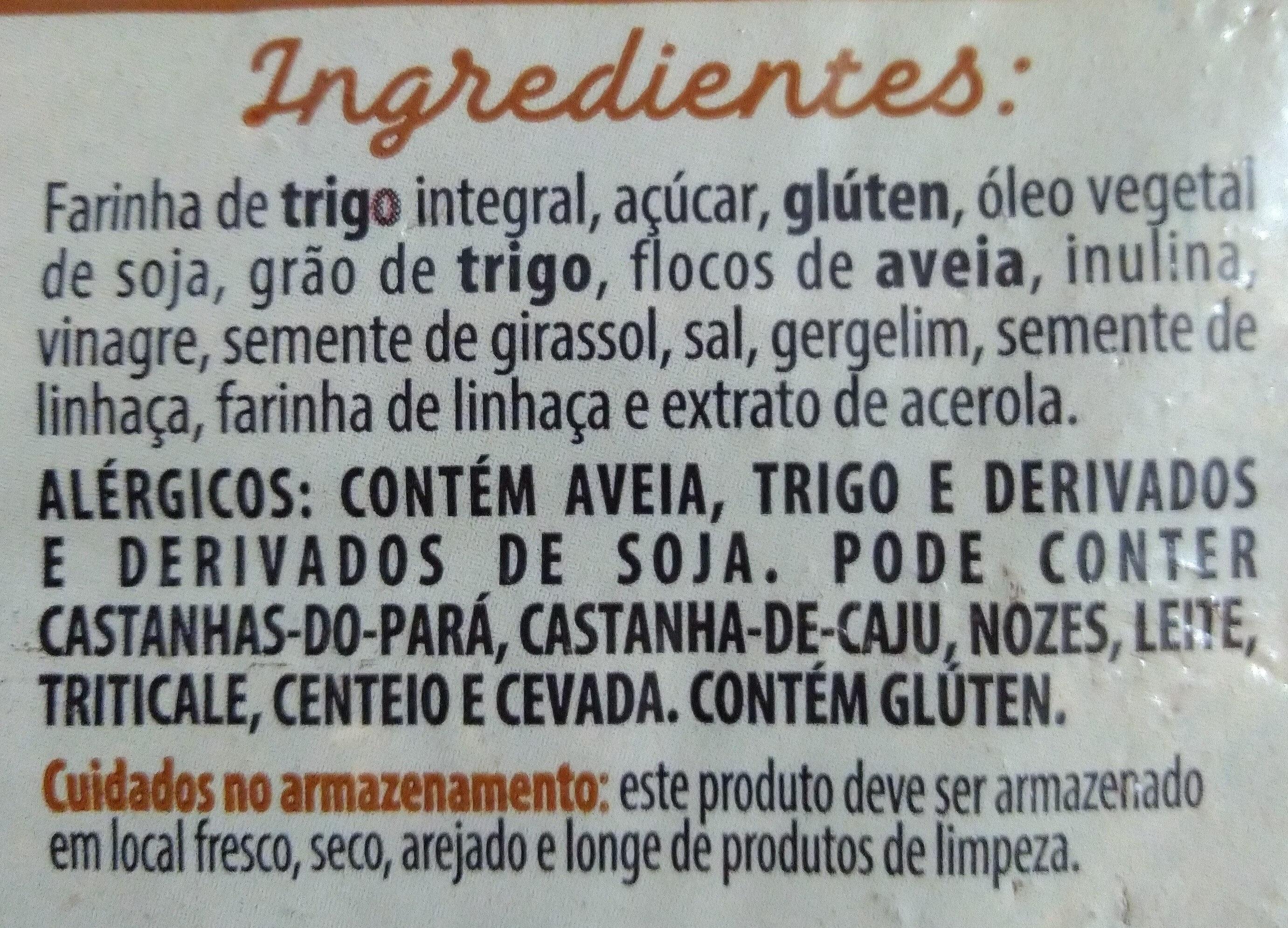 Pão integral com trigo, aveia, semente de girassol, gergelim e semente de linhaça - Ingredients - pt