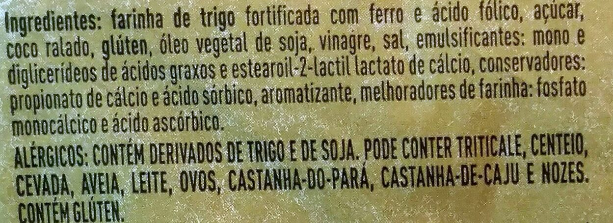 Pão de coco - Ingredients