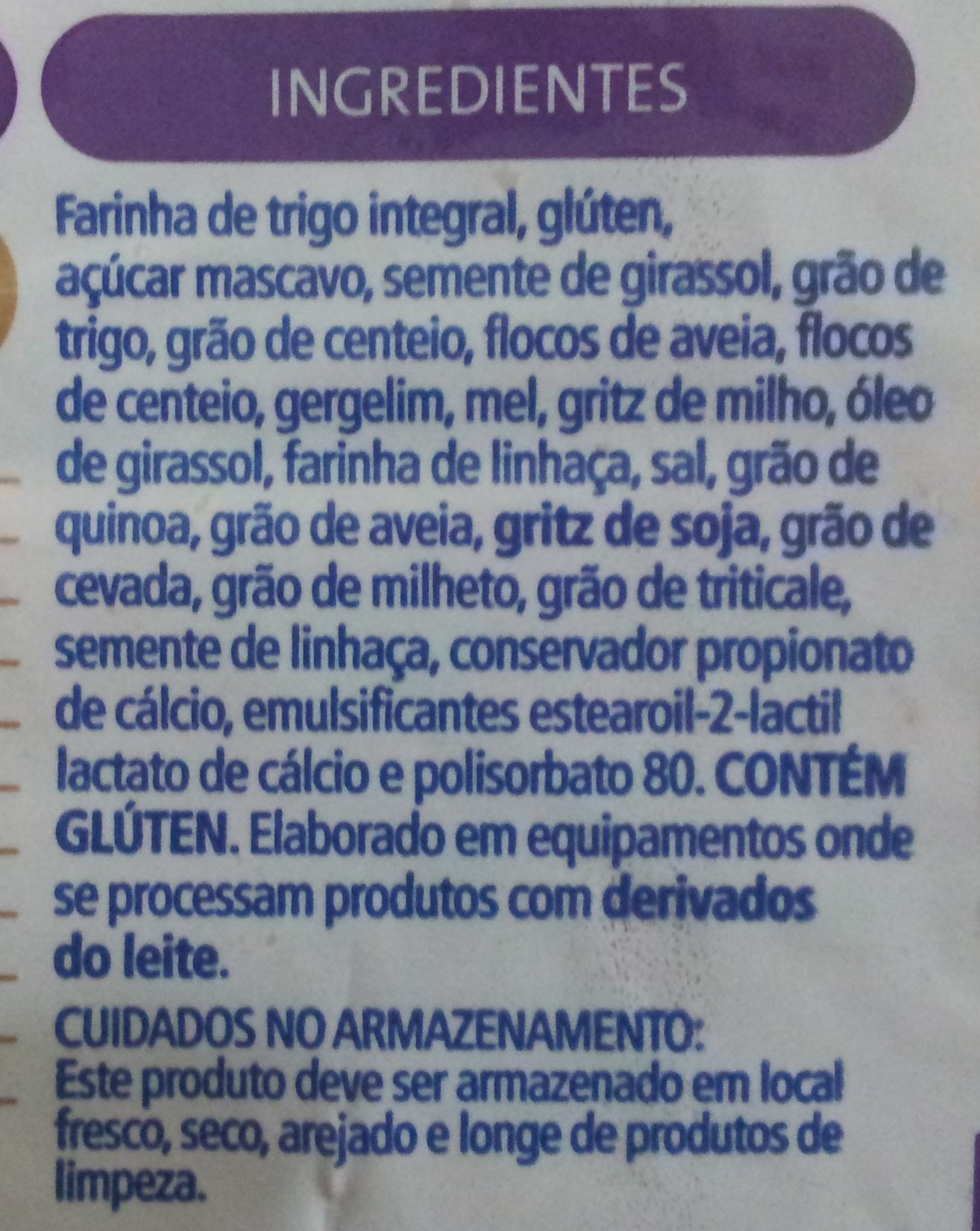 Pullman Integral 12 Grãos - Ingredients