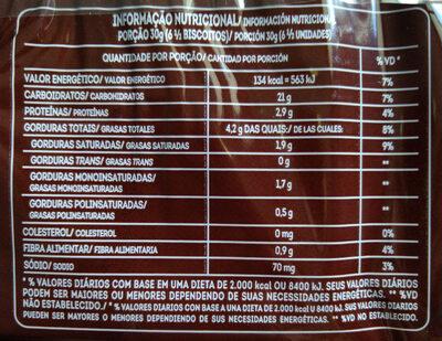 Biscoito Maizena Sabor de Chocolate - Informação nutricional - pt