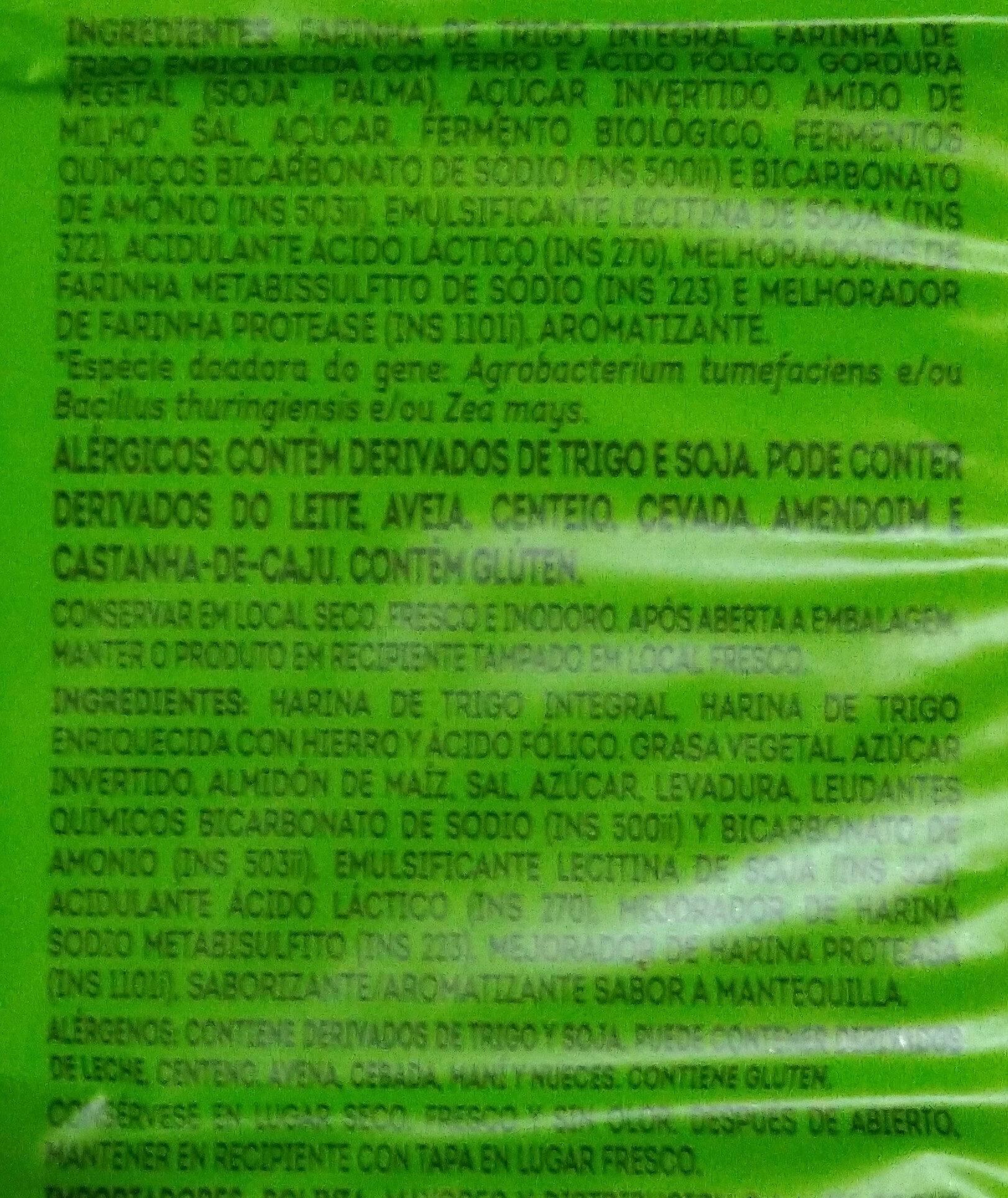 Cream Cracker integral - Ingredientes - pt