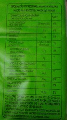 Cream Cracker integral - Informação nutricional - pt