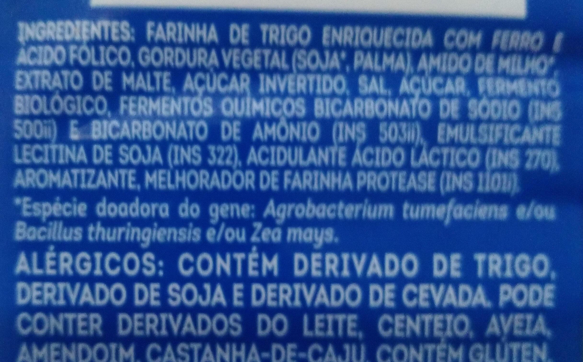 Biscoito água e sal - Ingredientes - pt