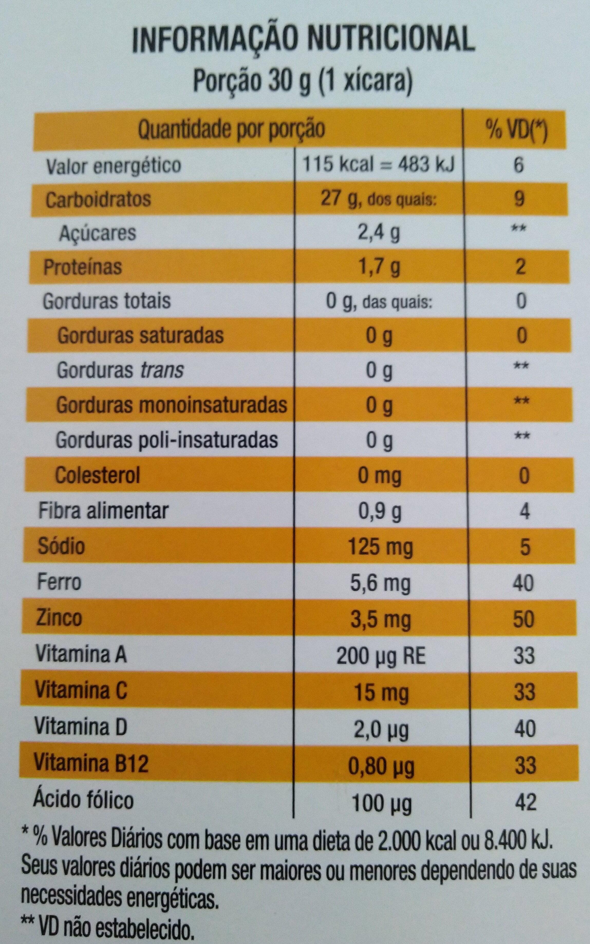 Corn Flakes original - Informação nutricional - pt