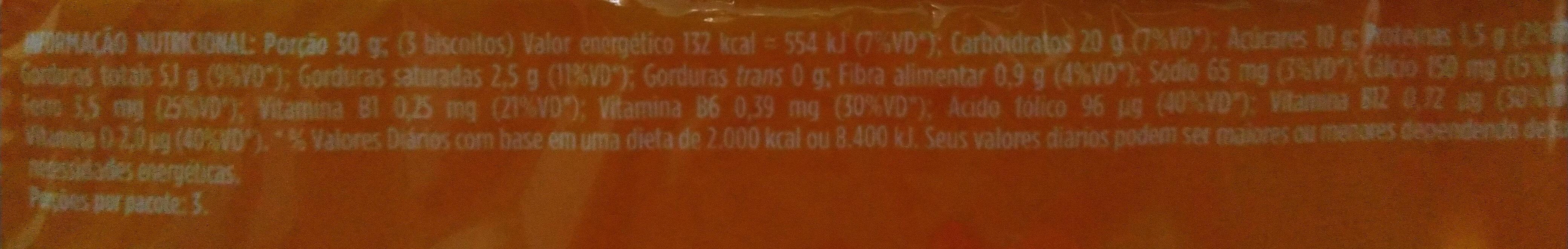 Biscoito com recheio sabor chocolate - Informação nutricional - pt