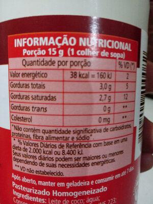 Leite de coco - Informations nutritionnelles - pt