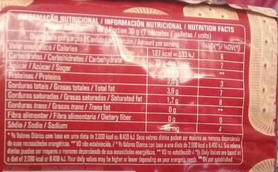 Biscoito doce maizena - Informação nutricional - pt