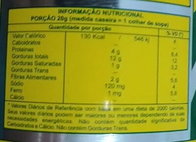 Tahine - Nutrition facts - pt