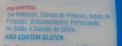 Sal com reduzido teor de sódio - Iodado - Ingredientes - pt