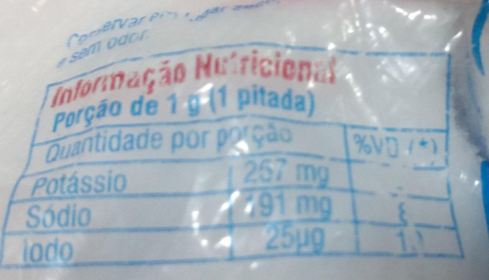 Sal com reduzido teor de sódio - Iodado - Informação nutricional - pt