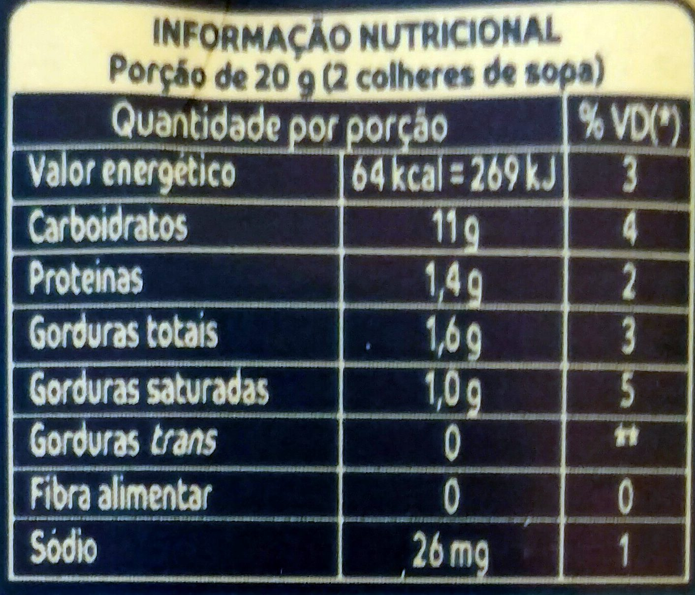 Leite Condensado Itambé - Nutrition facts