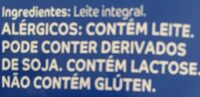 Leite em pó integral - Ingredientes - pt
