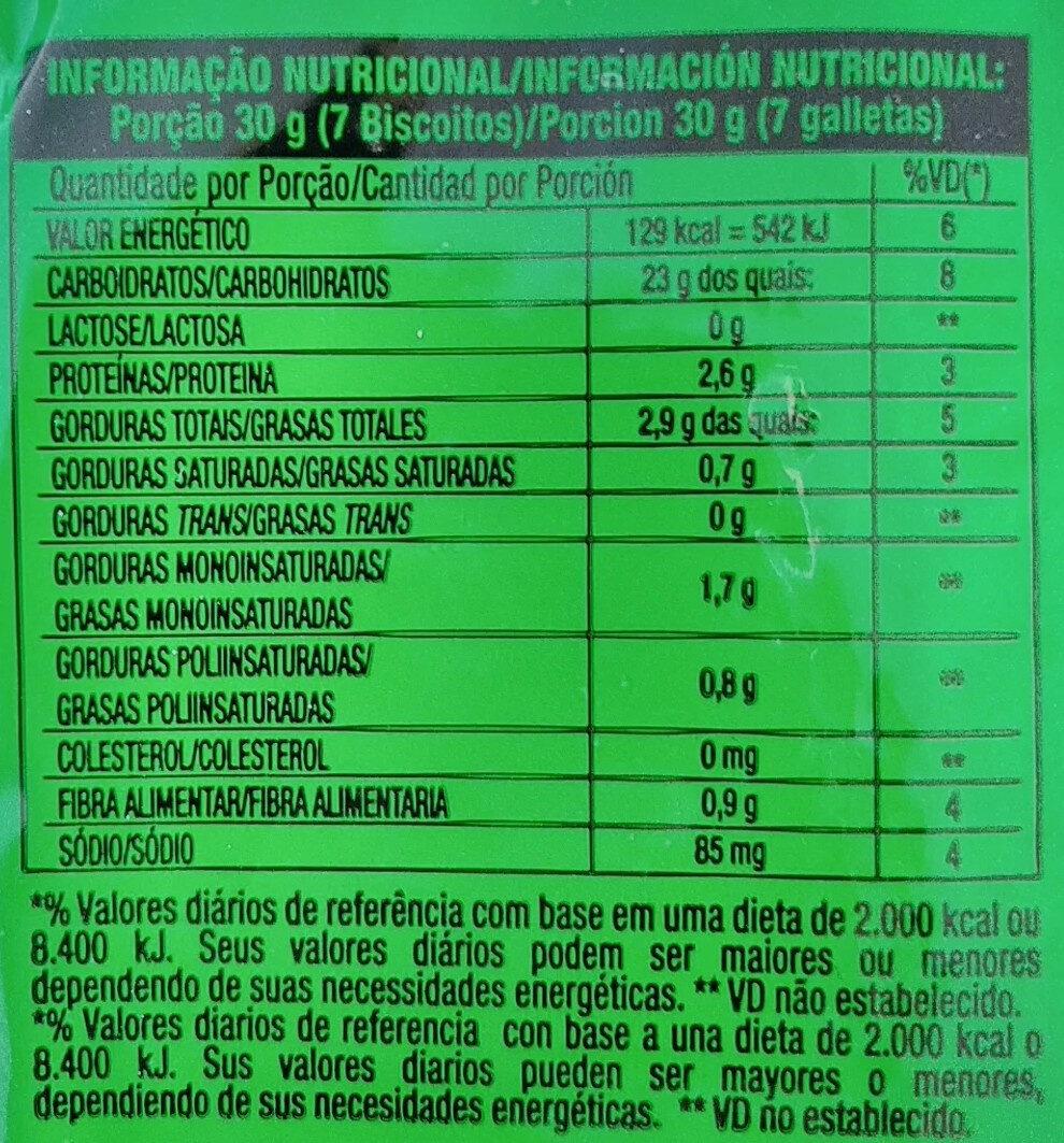 Biscoito doce sabor artificial coco - Nutrition facts - pt
