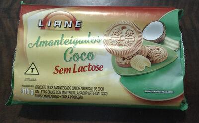 Biscoito doce amanteigado sabor artificial de coco - Produto - pt