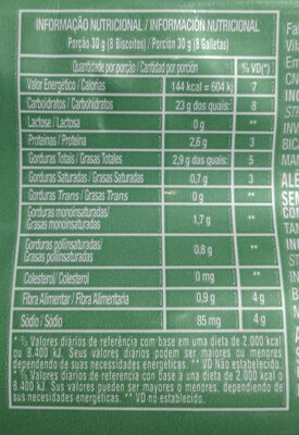 Biscoito doce amanteigado sabor artificial de coco - Informação nutricional - pt