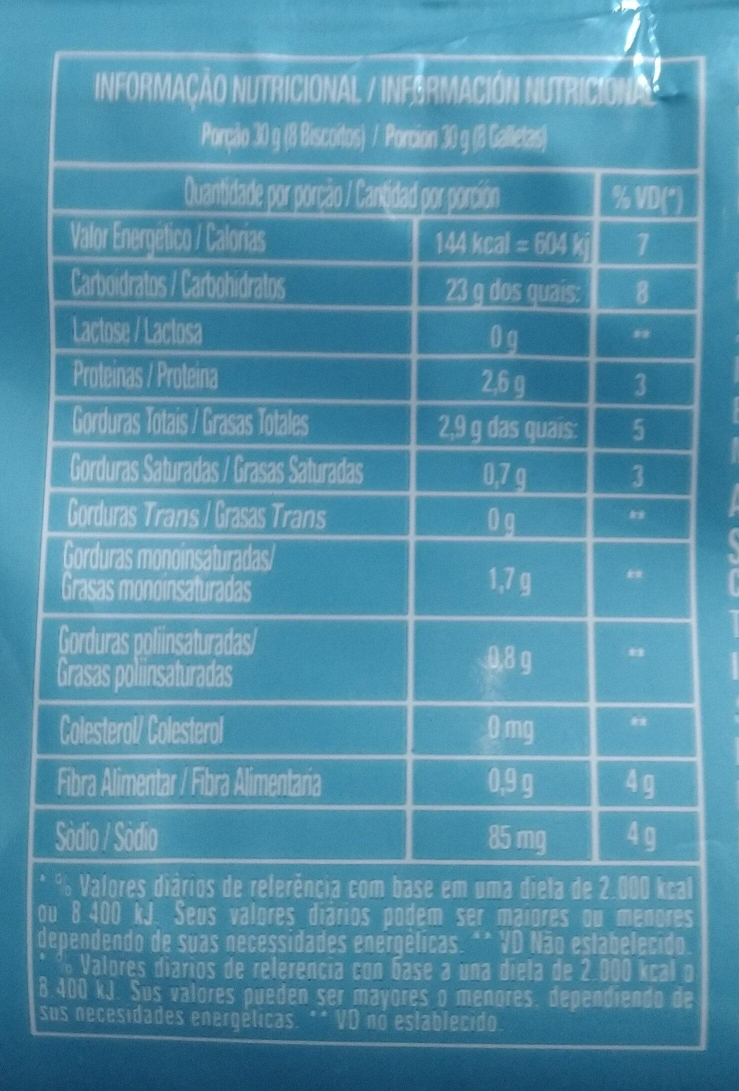 Biscoito doce amanteigado sabor artificial de leite - Informação nutricional - pt