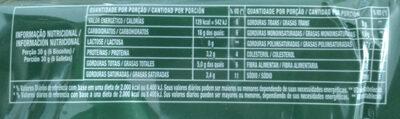 Cream Cracker Gergelim - Informação nutricional - pt