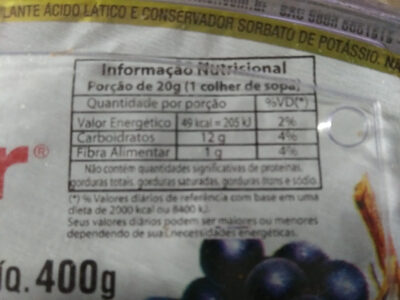 Geleia de uva - Informations nutritionnelles - pt