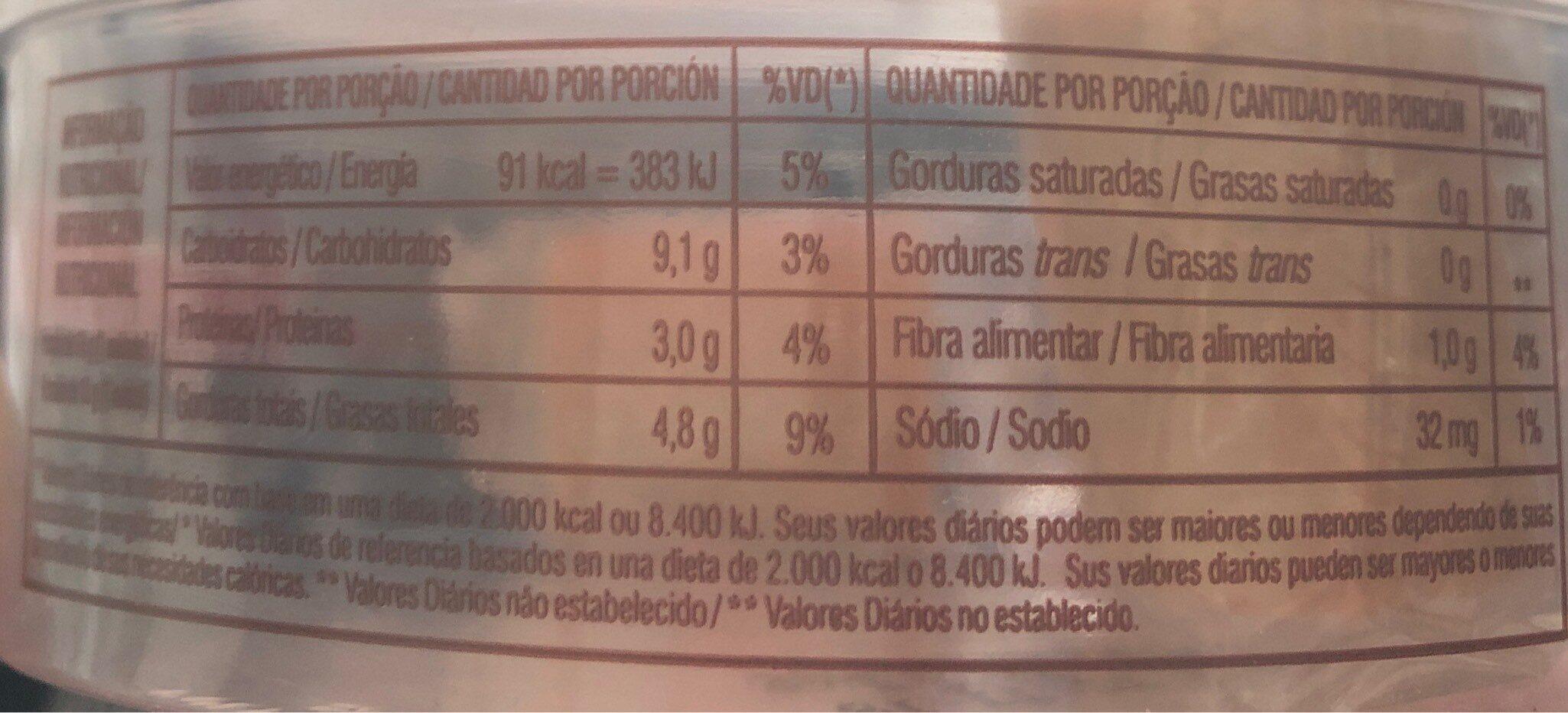 Paçoca Rolha Com Açúcar Mascavo Dacolônia 210G - Informação nutricional - fr